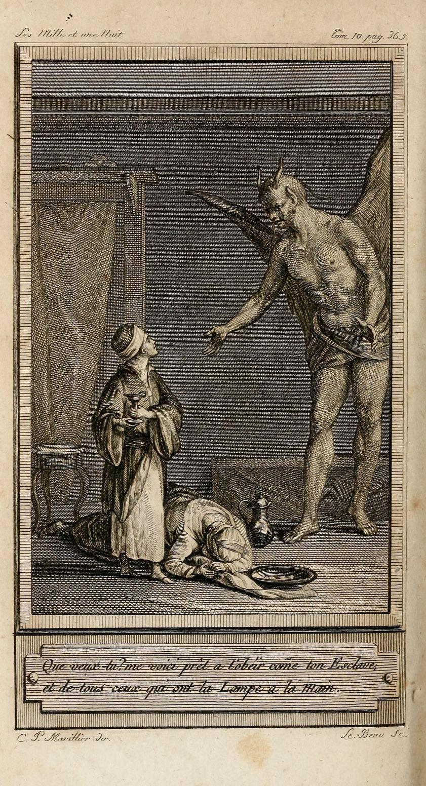 Aladyn i Dżin, ilustracja Clémenta-Pierre'a Marilliera z XVIII-wiecznego zbioru baśni