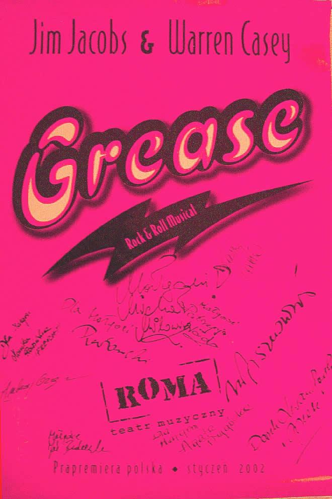 """Plakat z musicalu """"Grease"""" w Teatrze Roma z autografami artystów, fot. archiwum prywatne Małgorzaty Lipskiej"""